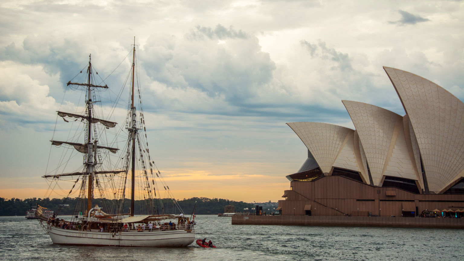 Going out into Sydney Harbour at dusk, the Sydney Opera House on the right.