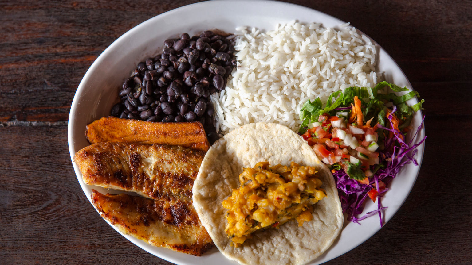 Costa-Rica-Lunch-Fish-Rice-Beans-Food-Plate