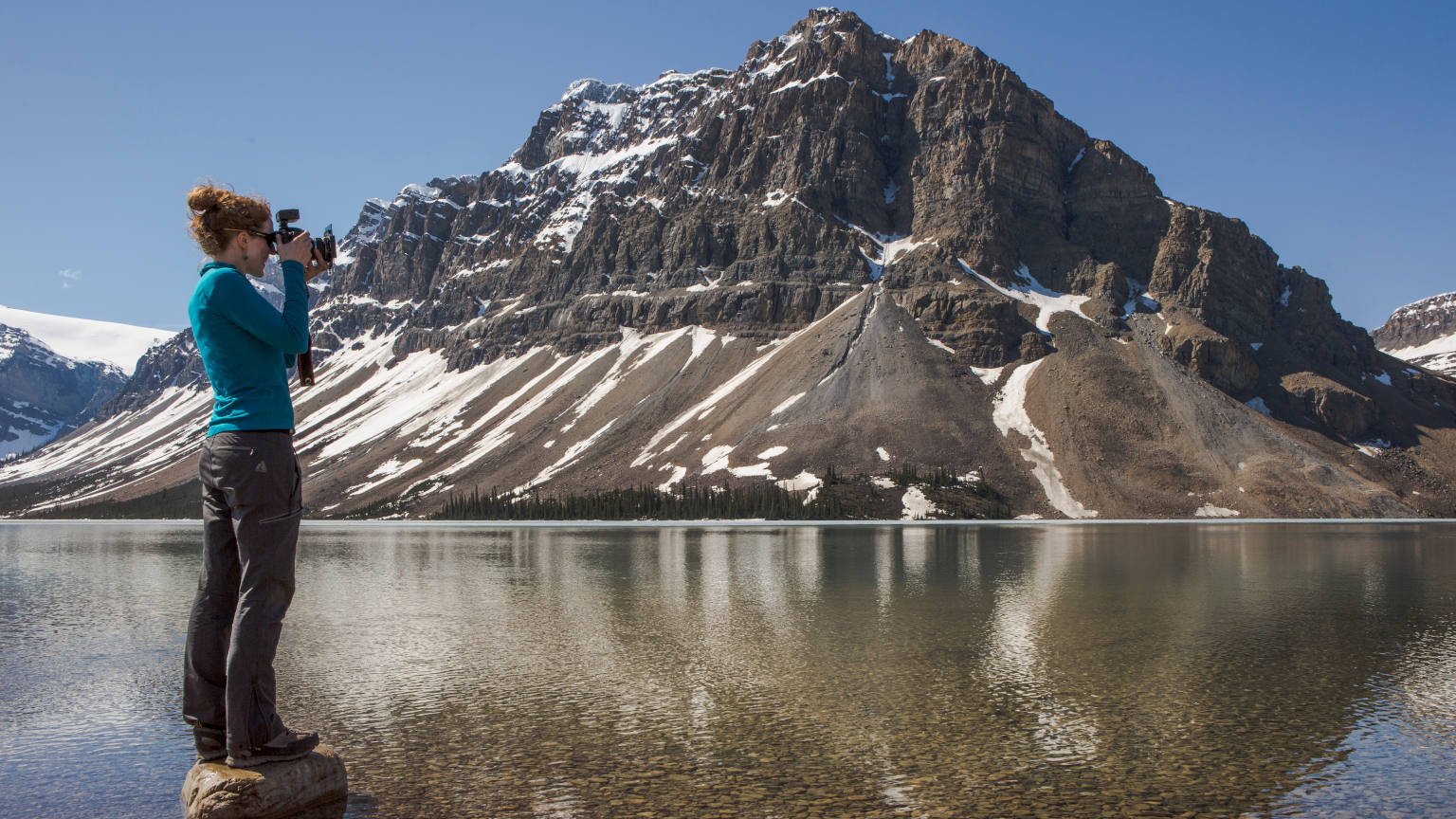 Canada Alberta Icefield Parkway Bow Lake Female Traveller Camera Wide