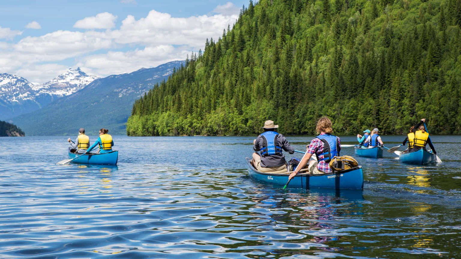 Canada British Columbia Wells Provincial Park Group Canoeing
