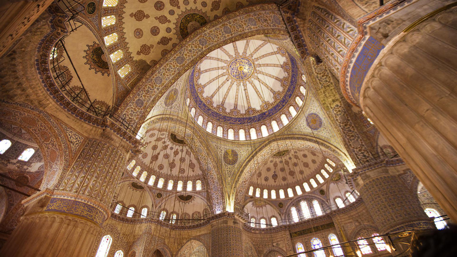 Turkey Istanbul Blue Mosque Ceiling cropped